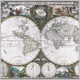 старинная карта полушарий